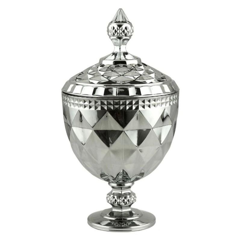 POTICHE C/PE DIAMOND CINZA METALIZADO 15x32cm #
